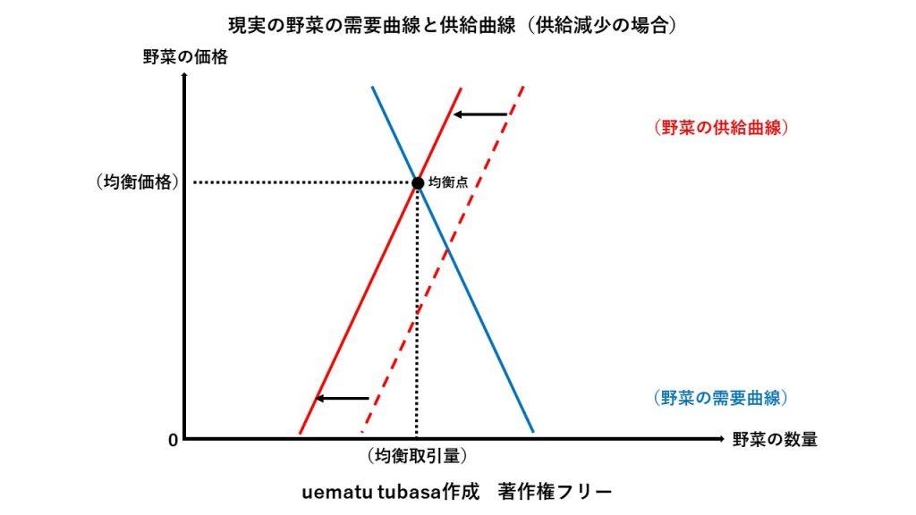 現実の野菜の需要曲線と供給曲線(供給減少の場合)