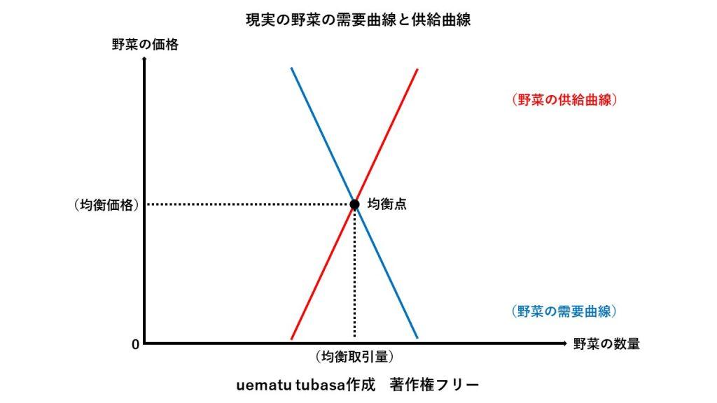 現実の野菜の需要曲線と供給曲線